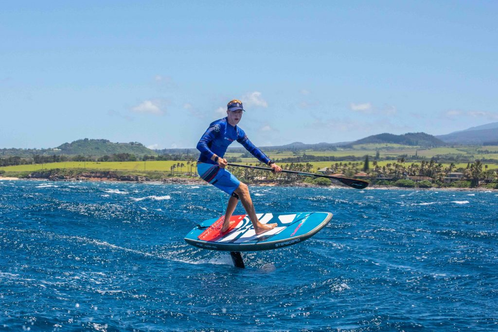 Connor Baxter Downwind with a foil on Maui ©Starboard/Abraham